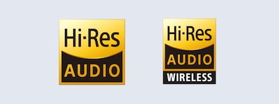 Logotipos de audio de alta resolución y audio de alta resolución inalámbrico