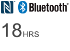 Logotipo de Bluetooth®: 18 horas de escucha inalámbrica